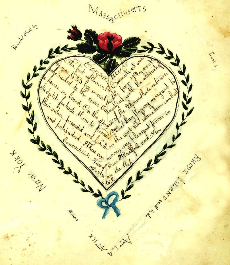 Cartography-juvenile-heart-shaped-map-of-new-england-1828