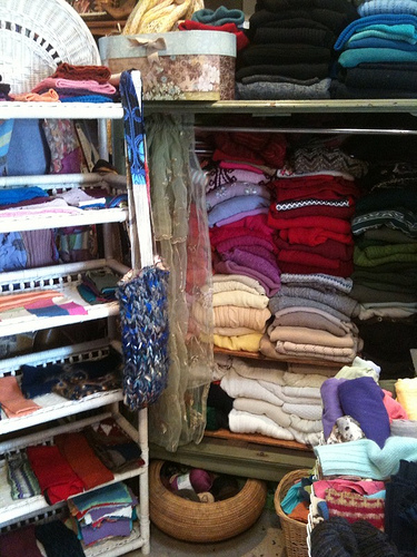 Cubbyhole of sweaters