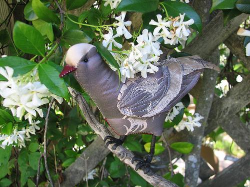 Bird from silk scarf