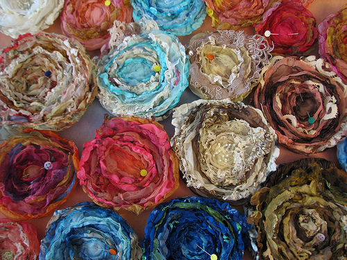 fabric flowers blooming in the workroom